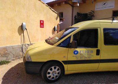 Instalación de punto de recarga de vehículo eléctrico en Aparthotel jardín del Río Cuervo (Cuenca)
